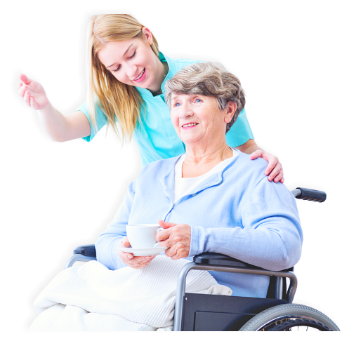 female caregiver assisting senior woman on wheelchair